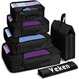 Veken 6 Set Packing Cubes, Travel Luggage Organizers with Laundry Bag & Shoe Bag (Black(Upgraded))