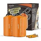 ROPODA Emergency Sleeping Bag Survival Bivy Sack - Use as Emergency Bivy Sack, Survival Sleeping Bag, Mylar Emergency Blanket-Includes Stuff Sack with Survival Whistle(2 Pack,Orange Color)