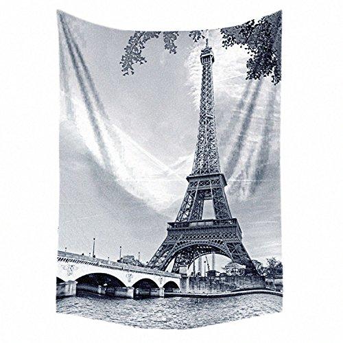 "Bedsure France Black and White Eiffel Tower Flannel Fleece Throw Blanket 50""x60"" Vintage Soft Lightweight"