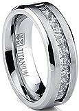 Titanium Men's Wedding Band Engagement Ring with 9 large Princess Cut Cubic Zirconia Size 12