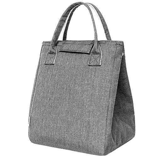 Moosoo Reusable Thermal Foldable Lunch Tote Bag Cooler Bag Insulated Lunch Box Picnic Bag Cooler Bag for Men Women (Gray)