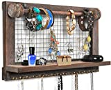 Viefin Rustic Wall Mounted Mesh Jewelry Organizer, Wood Shabby Chic Earring Holder with Shelf, Hanging Hook for Necklace, Removable Rod for Bracelet(Rustic,Standard)
