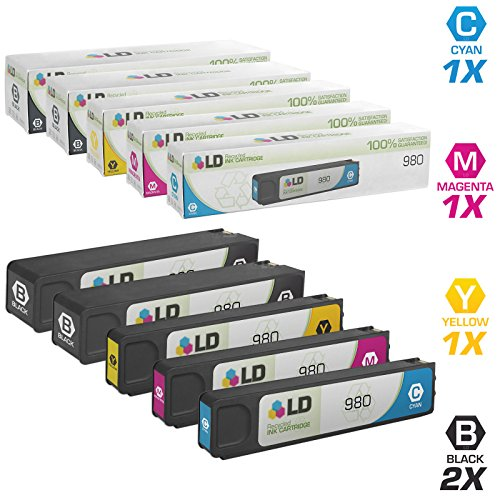 LD Remanufactured Ink Cartridge Replacement for HP 980 (2 Black, 1 Cyan, 1 Magenta, 1 Yellow, 5-Pack)