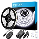 Dimmable LED Strip Lights, MINGER White Strip Light LED Mirror Lights Kit for Vanity Makeup Dressing Table 6000K Bright White Daylight, 300 LEDs, 16.4FT Under Cabinet Lighting Strips for Kitchen