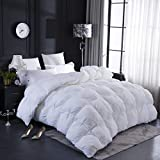 LESNNCIER White Goose Down Comforter,1200 Thread Count 100% Cotton Fabric - Beautiful Pinch Pleat Design - Baffle Box Construction,750+ Fill Power(King Size) (King Size, White)