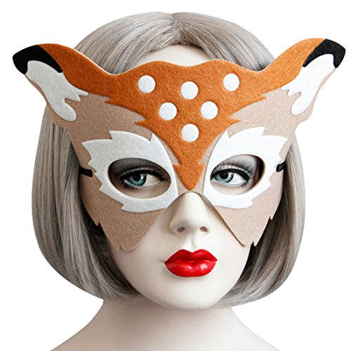 Fuchsbau Costume - Fox Half Face Costume Mask - Masquerade Party Adult Kids Cosplay Mask
