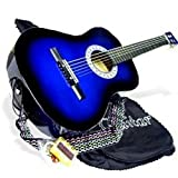 38' BLUE Acoustic Guitar Starters Beginner Package, Guitars, Gig Bag, Strap, Pitch Pipe Tuner, 2 Pick Guards, Extra String & DirectlyCheap Pick (BU-AG38) [Teacher Approved]