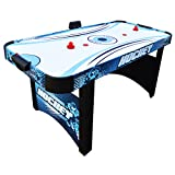 Hathaway Enforcer Air Hockey Table 5.5-ft for Kids with Electronic Scoring for Family Game Rooms - Blue/White