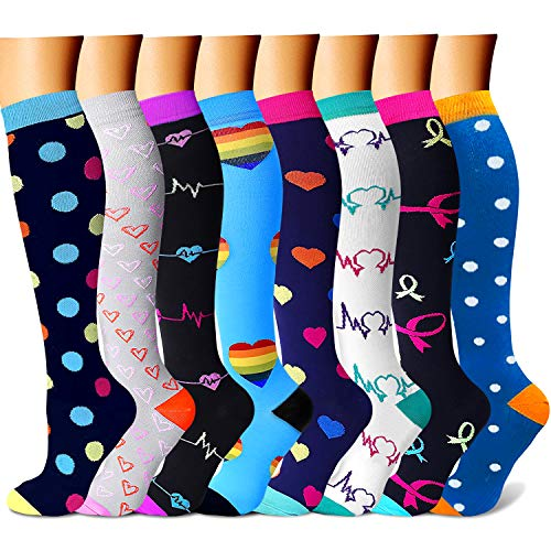 CHARMKING Compression Socks for Women & Men 7/8 Pairs 15-20 mmHg is Best Graduated Athletic,Running,Flight,Travel,Nurses
