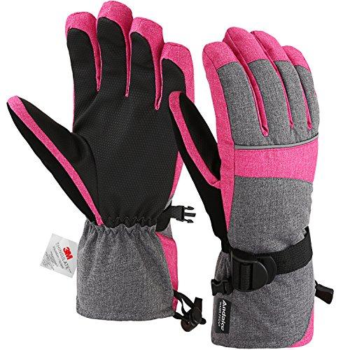 Andake Ski Gloves, Waterproof 3M Thinsulate TPU Membrane Women's Winter Gloves with Non-Slip PU Palms for Skiing, Snowboarding, Riding, Climbing and Skating