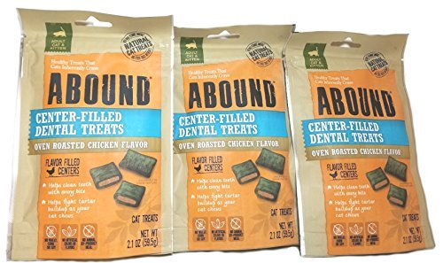 Abound Center-Filled Dental Cat Treats Oven Roasted Chicken Flavor 3 (2.1 Oz) Packet Bundle