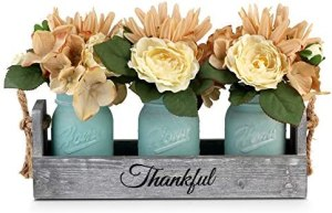 Besuerte Rustic Table Centerpiece Decor-Decorative Thankful Wood Tray with 3 Mason Jars, Rose Bouquet Flower for Home,Coffee Table Dining Room,Kitchen, New Home Housewarming Gift, Blue
