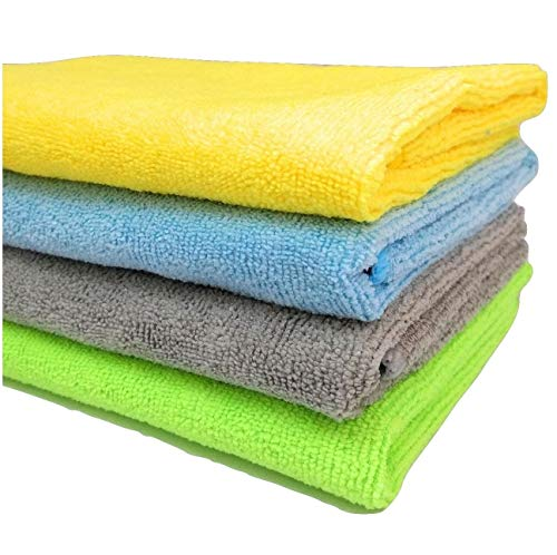 SOBBY Microfibre Cleaning Cloth - 40 cm x 40 cm - 340 gsm, (Multicolor, Pack of 4) 101