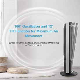 Airvention-Tower-Fan-41-inch-Quiet-Remote-Control-Timer-100-Oscillating-Air-Circulator-12-Tilt-Floor-Standing-Fans-Energy-Saving-Tall-Bedroom-Cooling-Ventilator-3-Speeds-X02-Black