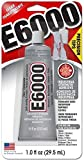 Glue W/Tips E6000 1oz,Clear,2 Pack