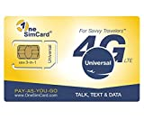 OneSimCard Universal 3-in-one SIM Card for use in Over 200 Countries with $5 Credit - Voice, Text and Mobile Data as Low as $0.01 per MB. Compatible with All Unlocked GSM Phones. 4G in 50+ Countries.