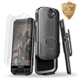 DuraForce PRO 2 Case, Cellularvilla Ultra Slim Kickstand Belt Clip Holster Shockproof Case Cover with Tempered Glass Screen Protector for Kyocera DuraForce Pro 2 E6900 - Black