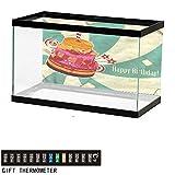 bybyhome Fish Tank Backdrop Birthday,Big Birthday Fruit Cake,Aquarium Background,36' L X 16' H(91x41cm) Thermometer Sticker