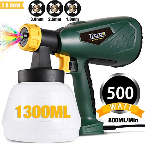 Paint Sprayer, TECCPO 500 Watts Up to 100 DIN-s, 800ml/min HVLP Electric Spray Gun with 1300ml Detachable Container, 3 Copper Nozzles & 3 Spray Patterns, Adjustable Volume Dial for Home Exterior