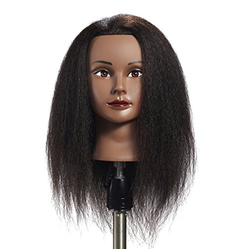 Hairginkgo 100% Real Hair Mannequin Head Hairdresser Training Head Manikin Cosmetology Doll Head (91711B0216)