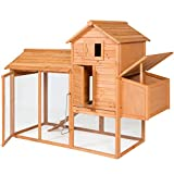 Best Choice Products 80in Wooden Chicken Coop Nest Box Hen House Poultry Cage Hutch w/ Ramp and Locking Doors - Brown