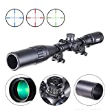 Pinty 4-16X40 Rifle Scope AO Red Green Blue Illuminated Mil Dot with Flip-Open Covers, Sunshade Tube