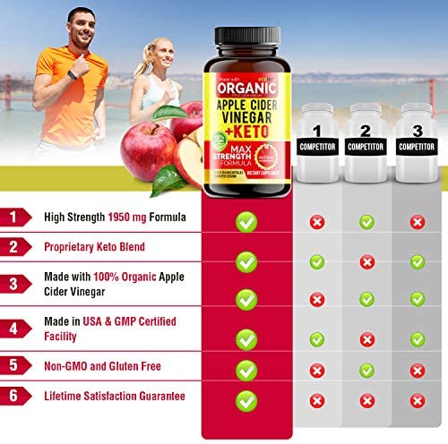 Apple Cider Vinegar Capsules with Mother + Keto BHB (High Potency 1950 mg), Keto Weight Loss Pills - Apple Cider Vinegar Pills for Weight Loss, Keto Pills Weight Loss, Keto Supplement 5