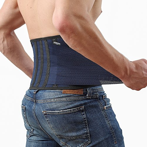 Back Support Lower Back Brace Provides Back Pain Relief - Breathable Lumbar Support Belt for Men and Women Keeps Your Spine Straight and Safe (Large - 38''- 45' at Navel Level)