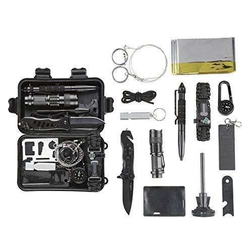 CO-Z Survival Kit for Emergency Camping Hiking, All in One Professional Little Outdoor Survival Gear Tool with Tactical Knife, Fire Starter Flashlight Saber Card Compass Pen for Kids Adventure Lovers