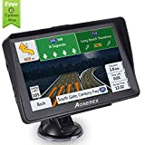 Car GPS, Aonerex 7 inch Touchscreen GPS Navigation System with Sunshade for Car Truck Motorhome &8GB 256MB Satellite Navigator Device with 2019 Maps Free Lifetime Map Updates