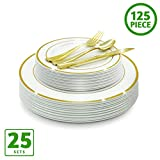 EcoEarth Gold Plastic Plates & Cutlery Combo Set (125 Pieces Set), Disposable Plastic Dinnerware Set Includes 25 Dinner Plates, 25 Dessert Plates, 25 Forks, 25 Knives, 25 Spoons (Gold Rim)
