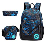 JiaYou Boy Girl Unisex 20L Fashion School Bag Backpack Bookbag with Florescent Mark 2/3 Sets
