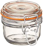 Anchor Hocking 5.4-Ounce Mini Glass Jar with Hermes Clamp Top Lid, Set of 12, Clear - 98908