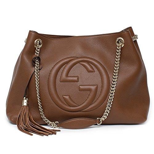 7d7fd76c6e6 Gucci Soho Leather Shoulder Bag Dark Brown Cuir Gold Chain Handbag ...