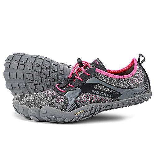 ALEADER hiitave Womens Barefoot Cross Training Shoes Wide Toe Minimalist Trail Runners Dark Gray/Fushia US 7.5 Women