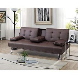 Pawnova Futon Sofa Bed, Modern Faux Leather Convertible Folding Lounge Couch for Living Room with 2 Cup Holders…