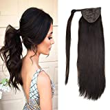 LaaVoo 12' Hairpiece Ponytail Clip on Extension Long Smooth Human Hair For Short Hair Colorful Darkest Brown Straight Wrap Ponytail Extension For Women 70g (#2)