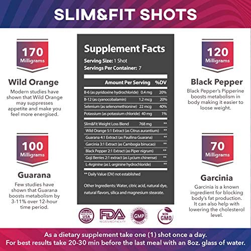 Slim&Fit Shots - The Only Working Weight Loss Pills for Women - Appetite Suppressant, Fat Burner and Metabolism Booster with L-Arginine, Garcinia Cambogia and Guarana - 1 Week Supply 4
