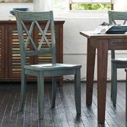Ashley Furniture Signature Design – Mestler Dining Room Side Chair – Wood Seat – Set of 2 – Blue/Green