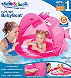 SwimSchool Pink Fun Fish Fabric Baby Pool Float, Splash and Play, Baby Boat with Safety Seat, Extra-Wide Inflatable Pool Float, Retractable Canopy, UPF 50, 6 to 24 Months, Blue
