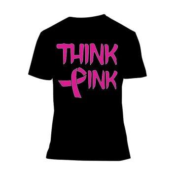 Fresh Tees Think Pink With Ribbon Cancer Awareness T-Shirt (Medium, black)