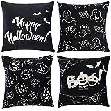 JOJUSIS Halloween Throw Pillow Covers Luminous Decorative Pillowcases Home Decor Set of 4 18 x 18 inch Pumpkin Ghost