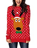 ACCKIA Women's Ugly Christmas Reindeer Knitted Sweater Long Sleeves Jumper Pullover Top Red Medium (Fits US 8-US 10)