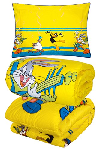 Looney Tunes Featuring Bugs Bunny The Rockstar, Daffy Duck and Tasmanian Devil Special Luxurious 100% Cotton Comforter 3pc Set Twin 83
