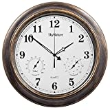 SkyNature Outdoor Clocks, 18 Inch Large Indoor Outdoor Wall Clock Waterproof with Temperature and Humidity