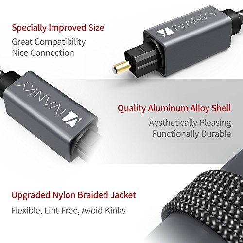 Digital Optical Audio Cable (10 Feet) - [Flawless Audio, Secure Connection] iVanky Slim Braided Digital Audio Optical Cord/Toslink Cable for Sound Bar, TV, PS4, Xbox, Samsung, Vizio - CL3 Rated, Grey
