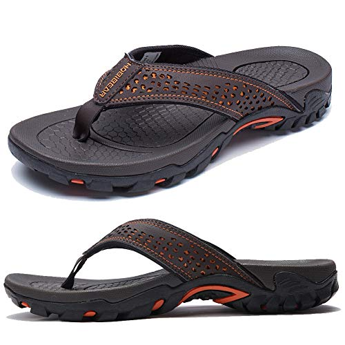 KIIU Mens Flip Flop Indoor and Outdoor Thong Sandals Beach Slippers Brown, 41