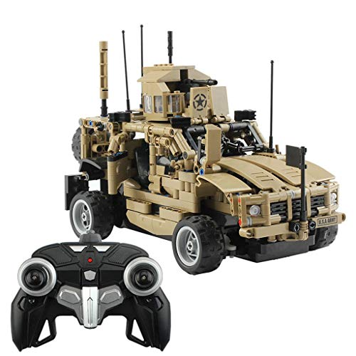 Nivalkid 1:12 2.4G RC Brick Armored Assault Military Vehicle DIY Kit Building Block Assembly Remote Control Vehicle Car Military Armored DIY Assembled Building Blocks (AS Show)