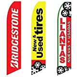 3 Swooper Flags Red & Yellow Bridtestone New & Used Tires Sale Banners Open