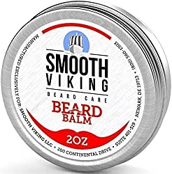 Beard Balm with Leave-in Conditioner- Styles, Strengthens & Thickens for Healthier Beard Growth, While Argan Oil and Wax Boost Shine and Maintain Hold- 2 oz Smooth Viking  Image